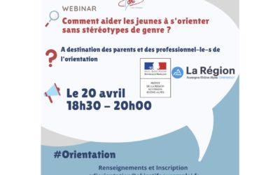 Webinar dédié à l'orientation non genrée – 20 avril de 18h30 à 20h